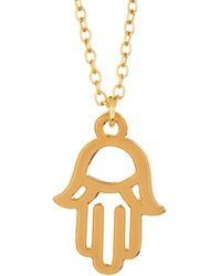 Kris Nations - 14k Gold Plated Hamsa Charm Necklace - Lyst