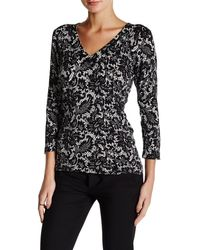 Laundry by Shelli Segal - Lacey Grace Printed V-neck Jumper - Lyst