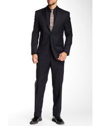 Peter Millar - Black Pinstripe Two Button Notch Lapel Wool Suit - Lyst
