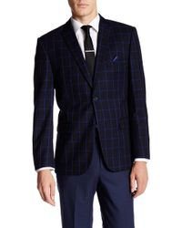 Nicole Miller - Navy/blue Window Pane Two Button Notch Lapel Sport Coat - Lyst