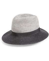 Hinge - Mixed Media Panama Hat - Lyst