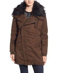 Steve Madden Faux Fur Collar Cotton Twill Parka - Brown