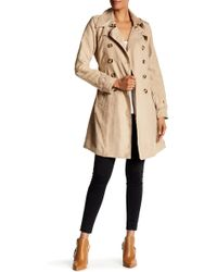 Steve Madden Double Breasted Belted Faux Suede Trench Coat - Natural