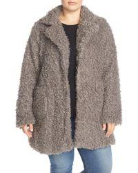 Steve Madden Faux Fur Coat - Gray