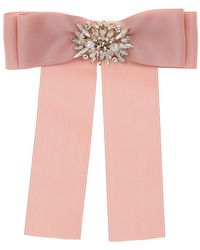 Cara - Pink Ribbon Pin With Large Floral Embellishment - Lyst