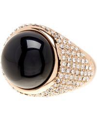 House of Harlow 1960 Embellished Black Onyx Ring - Metallic