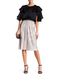 Do+Be Collection - Pleated Metallic Knee Length Skirt - Lyst