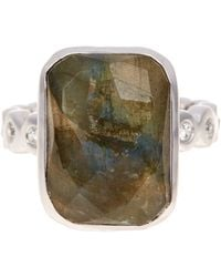 Melinda Maria - Tatum Hematite & Cz Ring - Size 7 - Lyst