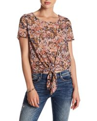 Rokoko by Dazz - Front Knot Floral Hi-lo Blouse - Lyst