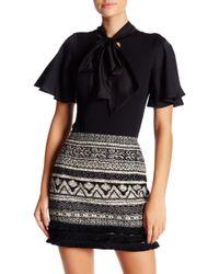 Romeo and Juliet Couture Neck Tie Bodysuit - Black