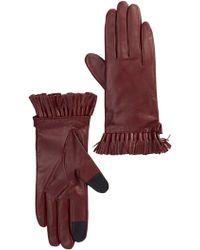Rebecca Minkoff Genuine Goat Leather Mini Tassel Gloves - Red