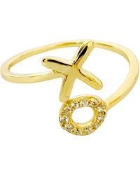 Charlene K 14k Gold Plated Sterling Silver Xo Wrap Ring - Metallic