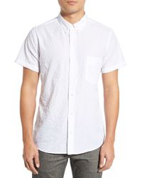 Baldwin Denim - 'miles' Trim Fit Crinkle Sport Shirt - Lyst
