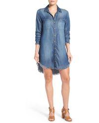 Side Stitch Frayed Hem Denim Shirtdress - Blue