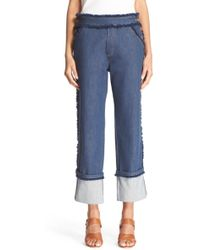 See By Chloé - Frayed Crop Jeans - Lyst