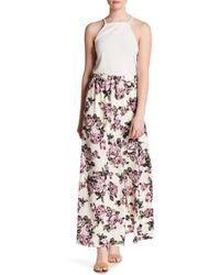 Peach Love California - Rose Print Slit Maxi Skirt - Lyst