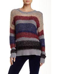 Blu Pepper - Fuzzy Long Sleeve Hi-lo Sweater - Lyst