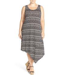 Sejour - Asymmetrical Jersey Midi Dress (plus Size) - Lyst