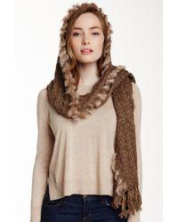 Subtle Luxury - Genuine Rabbit Fur Trim Hooded Scarf - Lyst