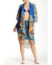Subtle Luxury - Printed Kimono Linen Shrug - Lyst