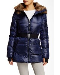 S13/nyc Alps Belted Down Faux Fur Trim Parka - Blue