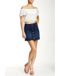 Jolt Seamed Denim Mini Skirt - Blue