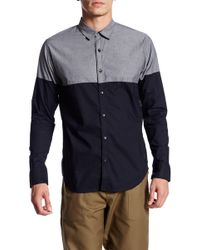 ourCaste - Jeramiah Long Sleeve Colorblock Shirt - Lyst
