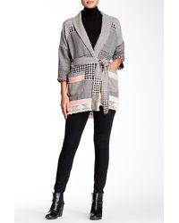 Gypsy 05 - Belted Barre Jacquard Kimono Cardigan - Lyst