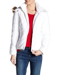 Joe Fresh - Quilted Faux Fur Trimmed Jacket - Lyst