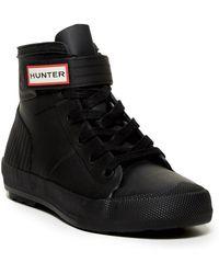 HUNTER Original Waterproof High Top Sneaker - Black