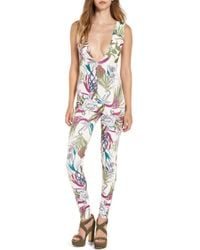 Missguided - Tropical Print Plunge Jumpsuit - Lyst