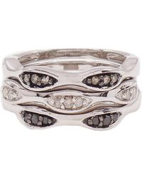 Savvy Cie Jewels - Diamond Detail Stack Ring - 0.25 Ctw - Set Of 3 - Lyst