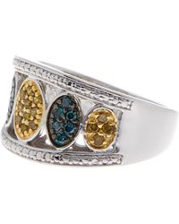 Savvy Cie Jewels - Sterling Silver Blue & Yellow Diamond Ring - 0.33 Ctw - Size 6 - Lyst
