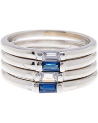 Savvy Cie Jewels - Sterling Silver Baguette Stone Stacking Rings - Set Of 4 - Size 5 - Lyst