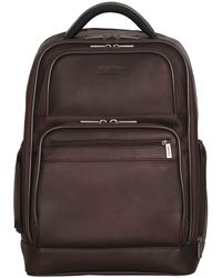 """Kenneth Cole Reaction Colombian Leather Double Compartment 15.6"""" Computer Backpack - Brown"""