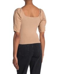 Lush Square Neck Short Puff Sleeve Crop Top - Brown