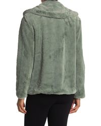 Kensie Notch Collar Faux Fur Coat - Green
