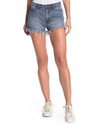 Articles of Society Meredith Frayed Denim Shorts - Blue