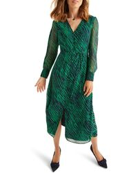 Boden Green Bardot Rouched Side Dress 12 Long