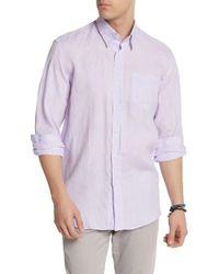 Michael's Swimwear Long Sleeve Linen Prints Solid Shirt - Purple