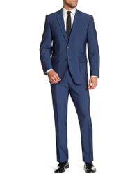 Perry Ellis - Solid Medium Blue Two Button Notch Lapel Slim Fit Suit - Lyst