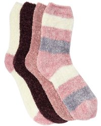 Josie Chenille Cozy Assorted Patterned Crew Socks - Pack Of 4 - Multicolor