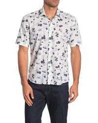 Culturata Short Sleeve Floral Print Contemporary Fit Shirt - Yellow