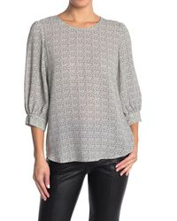 Adrianna Papell Pebbled 3/4 Sleeve Crepe Blouse - Gray