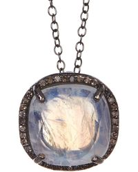 Adornia Moonstone Diamond Halo Lara Necklace - White