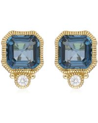 Judith Ripka Boca 14k Yellow Gold Cushion Cut Bezel Set Swiss Blue Topaz & Diamond Accent Stud Earrings