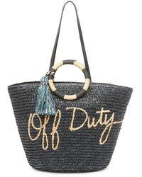 Rebecca Minkoff Off Duty Straw Tote Bag - Black