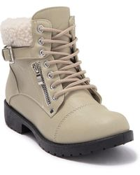 Wanted Combat Boot With Faux Shearling Trim - Multicolor