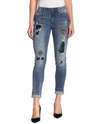 Miss Me - Embellished Patchwork Ankle Skinny Jeans - Lyst