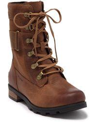 Sorel Emelie Conquest Waterproof Combat Boot - Brown